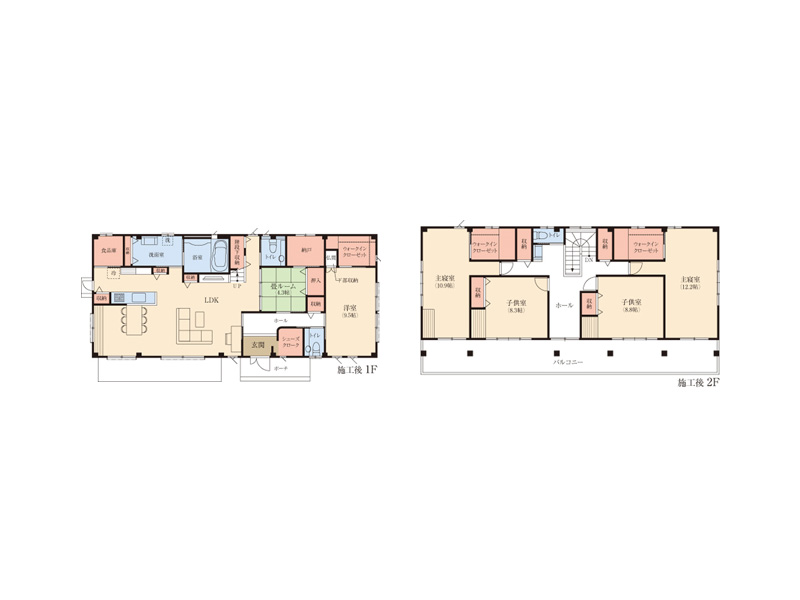 施工後(左:1階 右:2階)